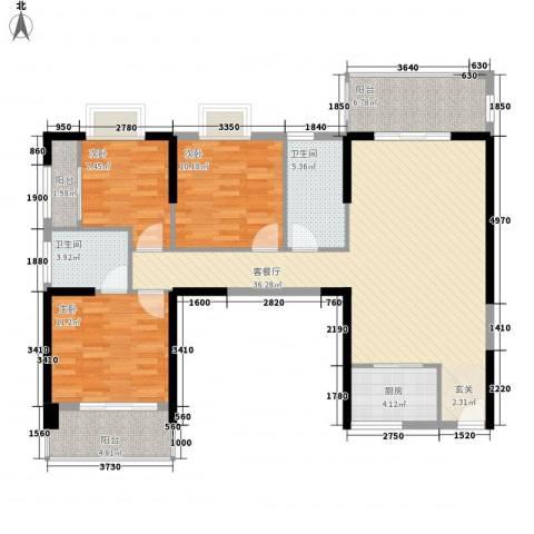 福泰海湾新城3室1厅2卫1厨124.00㎡户型图