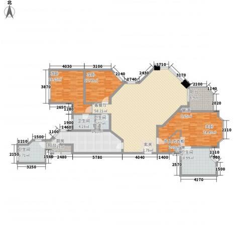 华山丽苑3室1厅4卫1厨230.00㎡户型图