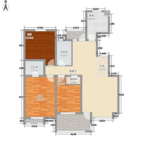 香格里3室1厅2卫1厨122.40㎡户型图