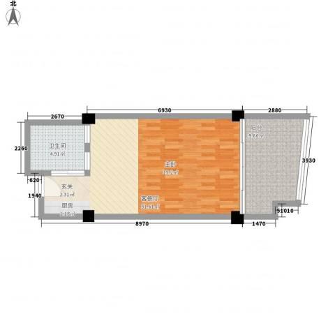 三亚湾国际公馆1厅1卫0厨65.00㎡户型图