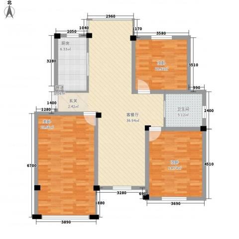 新盛花园3室1厅1卫1厨137.00㎡户型图