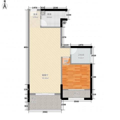 福泰海湾新城1室1厅1卫1厨82.00㎡户型图