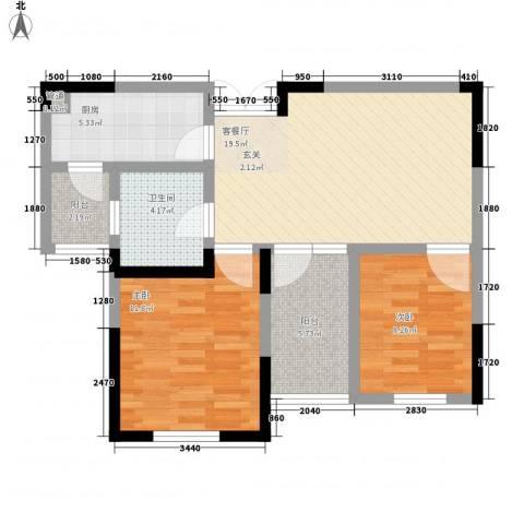 东方维罗纳2室1厅1卫1厨80.00㎡户型图