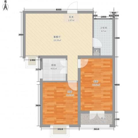 郡宇・万象城2室1厅1卫1厨88.00㎡户型图