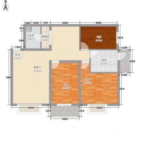福苑3室1厅1卫1厨116.00㎡户型图