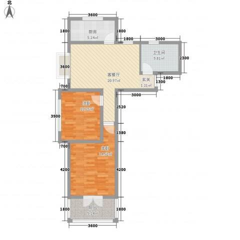 郡宇・万象城2室1厅1卫1厨97.00㎡户型图