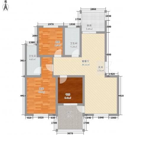 棕榈泉3室1厅2卫1厨133.00㎡户型图