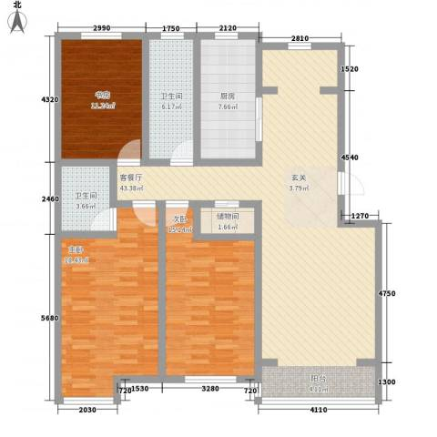 丽和阳光城3室1厅2卫1厨141.00㎡户型图