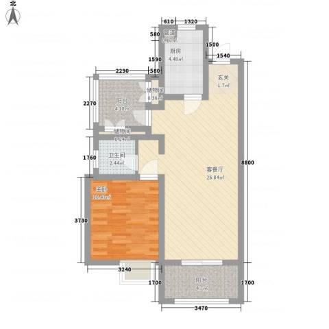 金地自在城1室1厅1卫1厨80.00㎡户型图