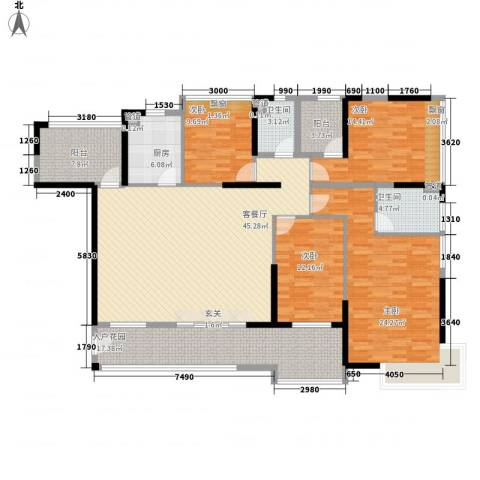 鸿晖・依岸康堤4室1厅2卫1厨180.00㎡户型图
