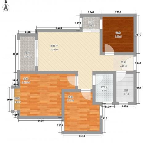 宝安江南城3室1厅1卫1厨86.00㎡户型图