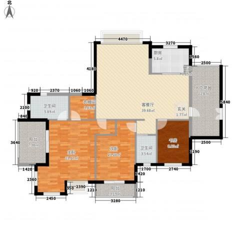洪客隆地中海阳光3室1厅2卫1厨153.00㎡户型图