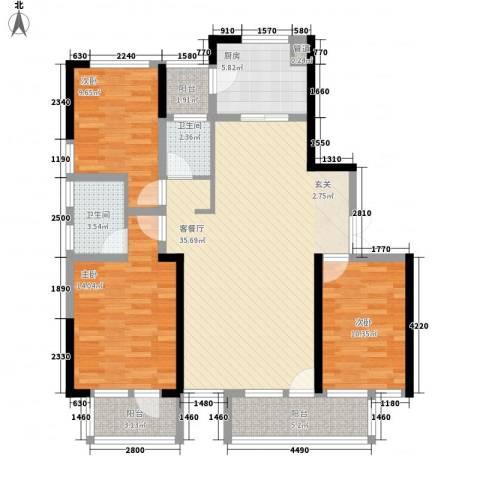 博林金谷四期3室1厅2卫1厨134.00㎡户型图