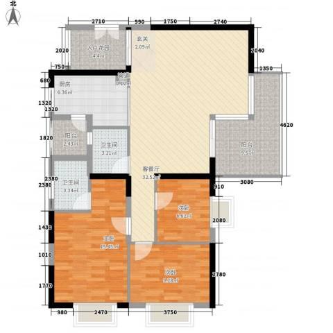 金碧时代广场3室1厅2卫1厨132.00㎡户型图