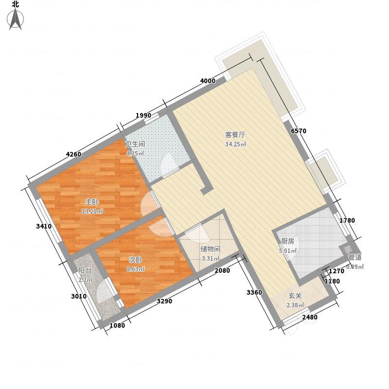 三隆碧桂园户型图A1户型 2室2厅1卫