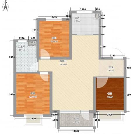 华发九龙湾中心3室1厅1卫1厨70.57㎡户型图