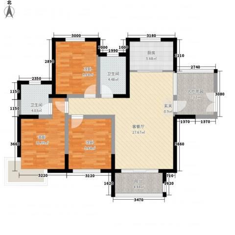 康城项目3室1厅2卫1厨115.00㎡户型图