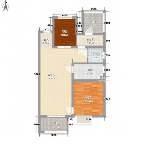 金地自在城2室1厅1卫1厨96.00㎡户型图
