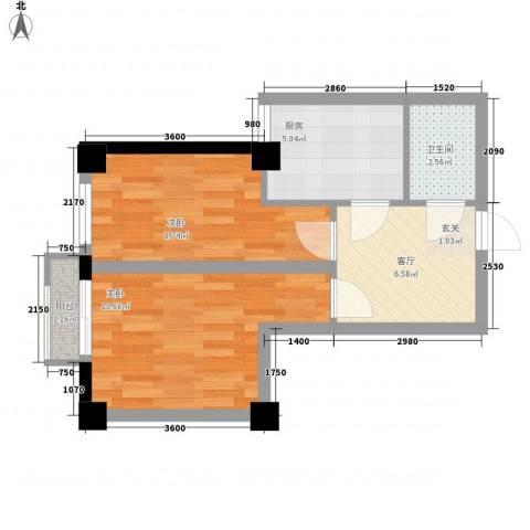 东城左岸2室1厅1卫1厨56.00㎡户型图