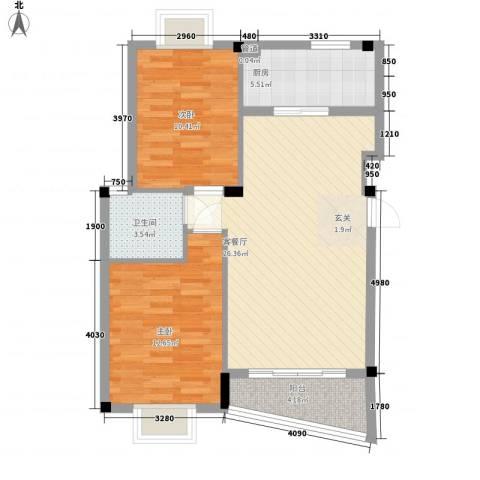 泉舜星园美第2室1厅1卫1厨89.00㎡户型图