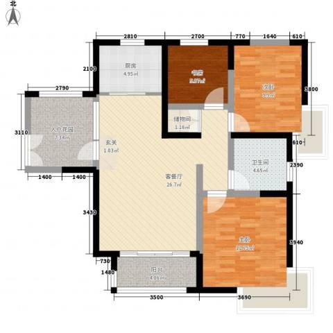康城项目3室1厅1卫1厨103.00㎡户型图