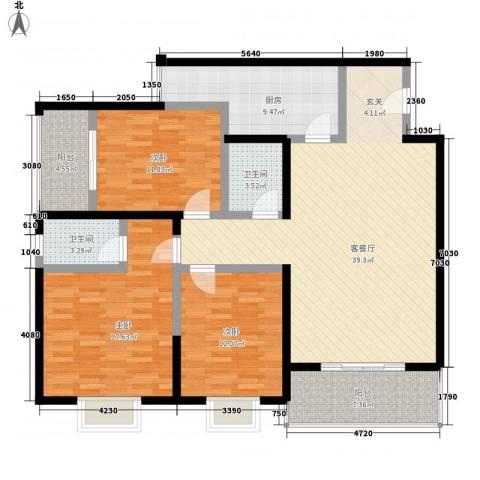 紫薇田园都市配套公寓3室1厅2卫1厨156.00㎡户型图