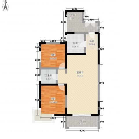 康城项目2室1厅1卫1厨106.00㎡户型图