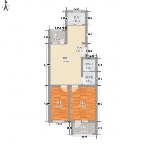 报社家属院2室1厅1卫1厨87.00㎡户型图