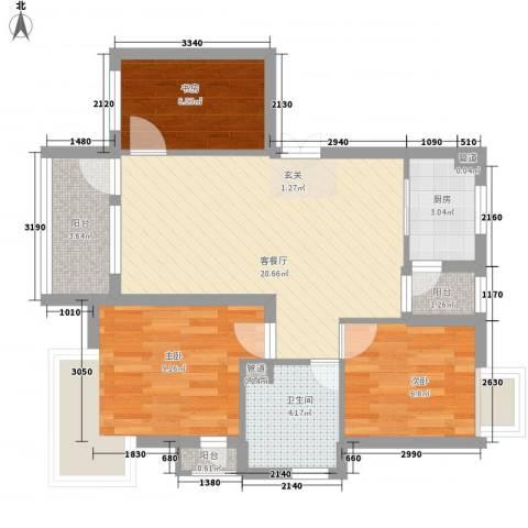 报社家属院3室1厅1卫1厨81.00㎡户型图
