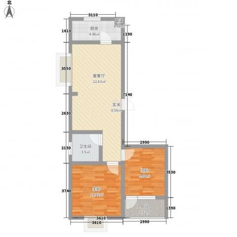 华福国际2室1厅1卫1厨80.00㎡户型图