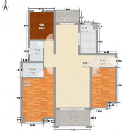 中海曲江碧林湾3室1厅2卫1厨156.00㎡户型图
