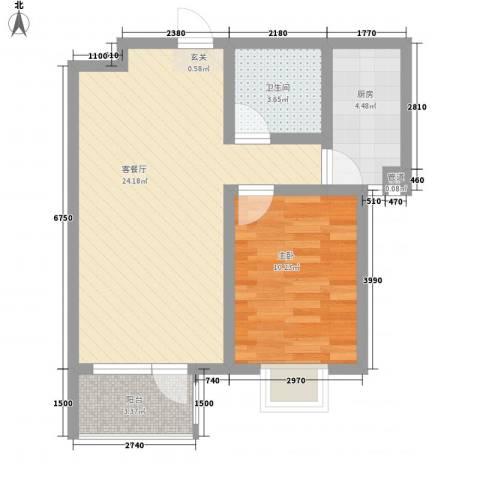 华福国际1室1厅1卫1厨67.00㎡户型图