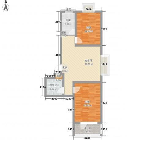 华福国际2室1厅1卫1厨84.00㎡户型图