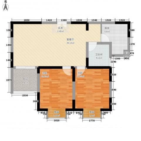 我家山水瑞雪苑2室1厅1卫1厨71.97㎡户型图