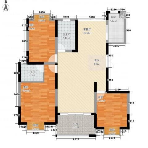 我家山水瑞雪苑3室1厅2卫1厨142.00㎡户型图
