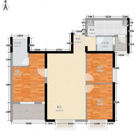 龙江大厦3室1厅2卫1厨124.00㎡户型图