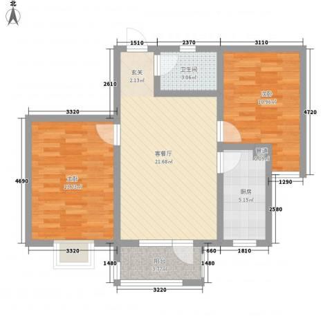 华福国际2室1厅1卫1厨85.00㎡户型图