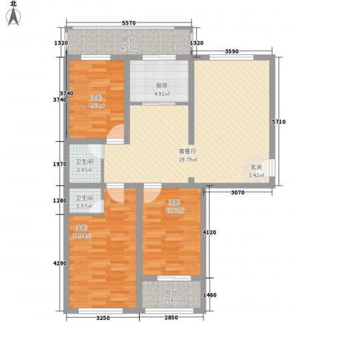 尚都花苑3室1厅2卫1厨117.00㎡户型图