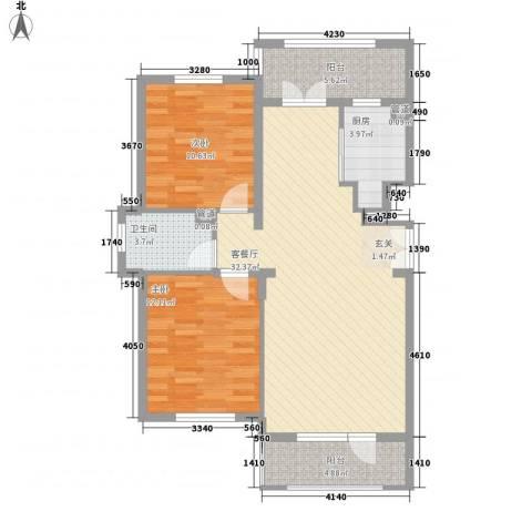 郡原・美村2室1厅1卫1厨104.00㎡户型图