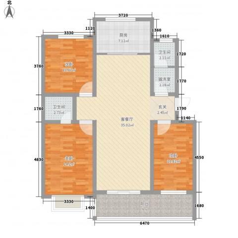 裕昌・水岸新城3室1厅2卫1厨135.00㎡户型图