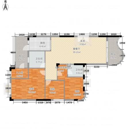 加州阳光3室1厅2卫1厨123.00㎡户型图
