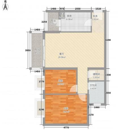 永同昌假日国际公寓2室1厅1卫1厨103.00㎡户型图