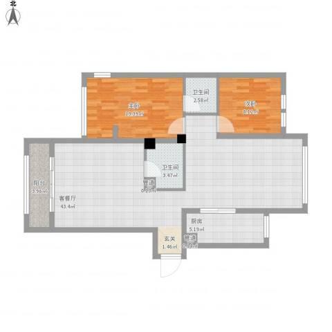银溪春墅5号楼115平2室1厅2卫1厨115.00㎡户型图