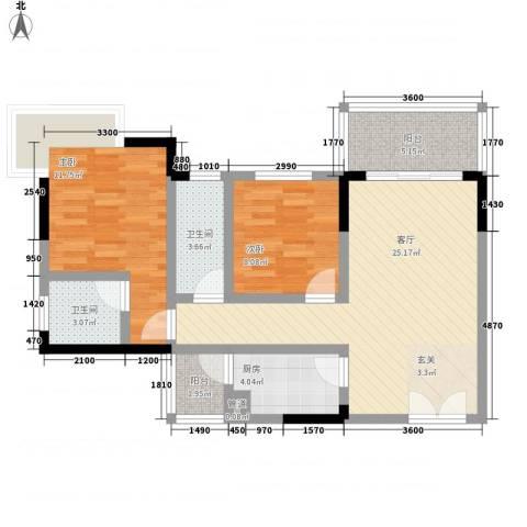 凤凰山城2室1厅2卫1厨94.00㎡户型图