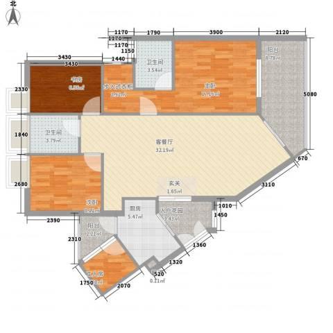 理想蓝堡国际花园3室1厅2卫1厨130.00㎡户型图