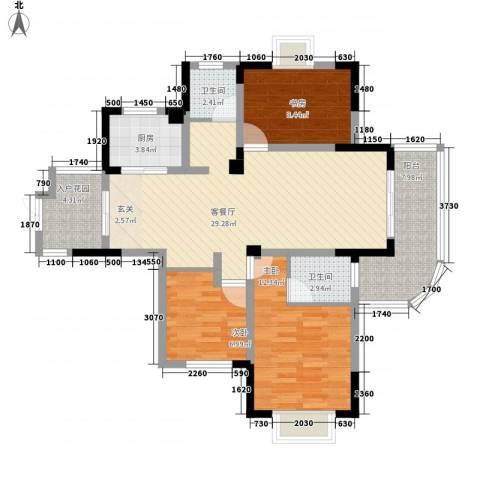 巴黎春天3室1厅2卫1厨115.00㎡户型图