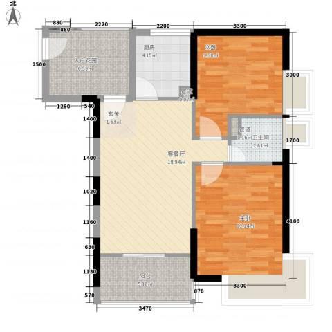 东兴楼2室1厅1卫1厨120.00㎡户型图