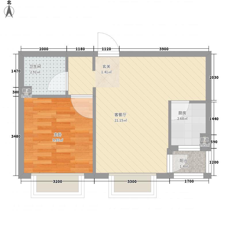 岭湾峰尚5.60㎡7#楼A3户型1室2厅1卫1厨