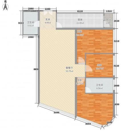 北京财富中心二期3室1厅2卫1厨170.00㎡户型图