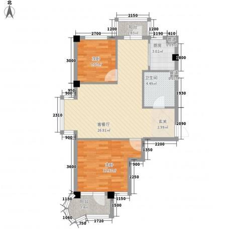 翠岛经典2室1厅1卫1厨76.00㎡户型图